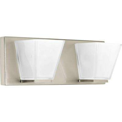 Streaming Collection 2-Light Brushed Nickel Bathroom Vanity Light