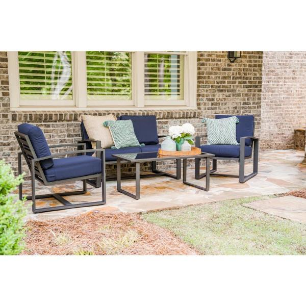 Leisure Made Jasper 4 Piece Aluminum Patio Conversation Set With Navy Cushions 967003 Nvy The Home Depot