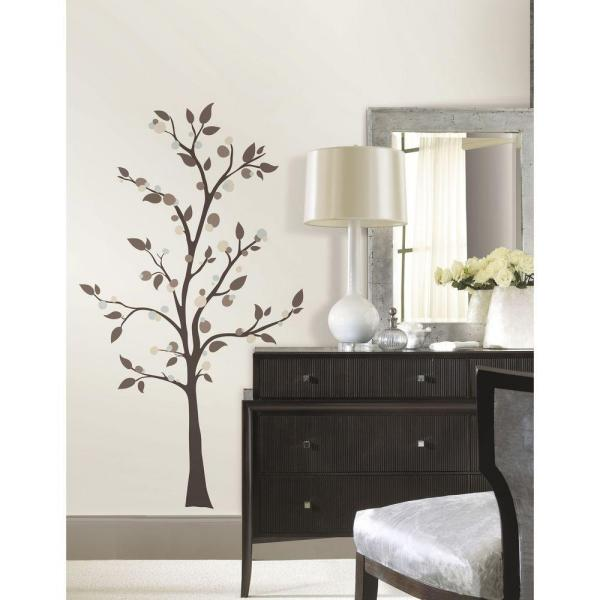 c7ef9c7a5 RoomMates 5 in. x 19 in. Mod Tree Peel and Stick Giant Wall Decals ...