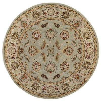 Old London Green/Ivory 6 ft. x 6 ft. Round Area Rug