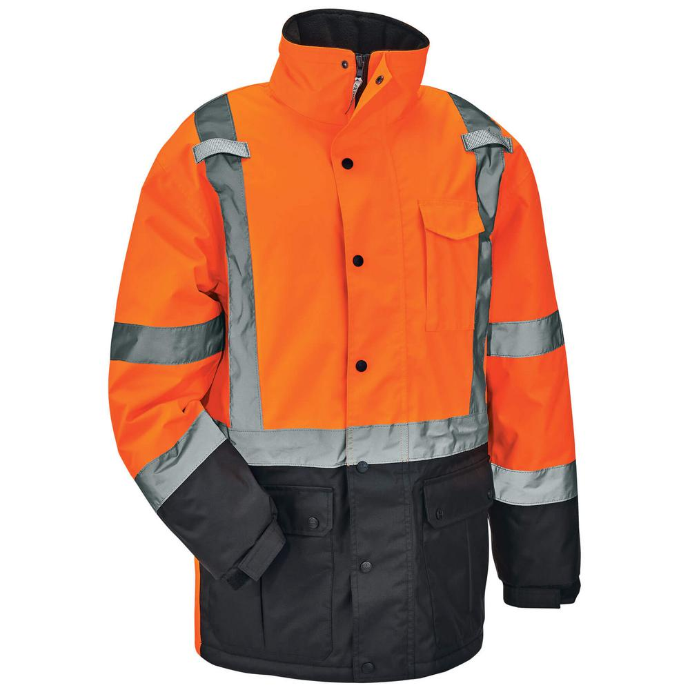 Men's 3X-Large Orange High Visibility Reflective Thermal Parka