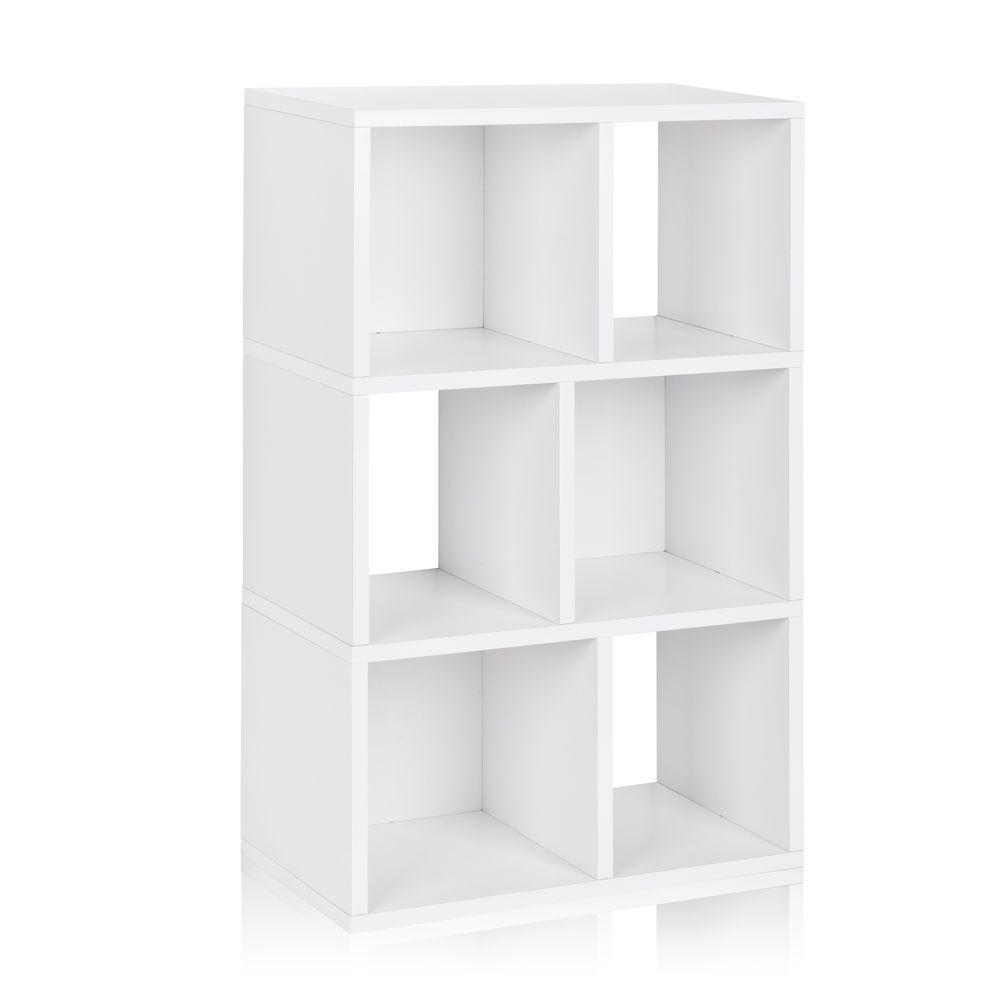Way Basics Laguna 3-Shelf 12 x 22.8 x 36.8 zBoard  Bookcase, Tool-Free Assembly Cubby Storage in Pearl White