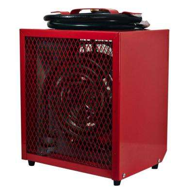 17,066 BTU Portable Industrial Fan-Forced Heater Furnace with Adjustable Thermostat in Red