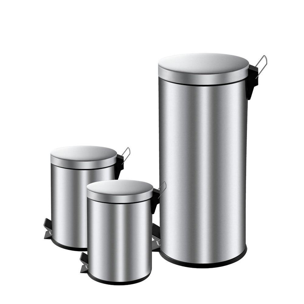hdx 30 liter and 5 liter stainless steel round stepon trash can combo the home depot