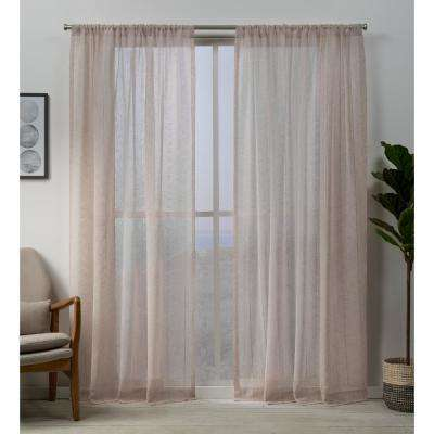 Hemstitch 54 in. W x 96 in. L Sheer Rod Pocket Top Curtain Panel in Blush (2 Panels)