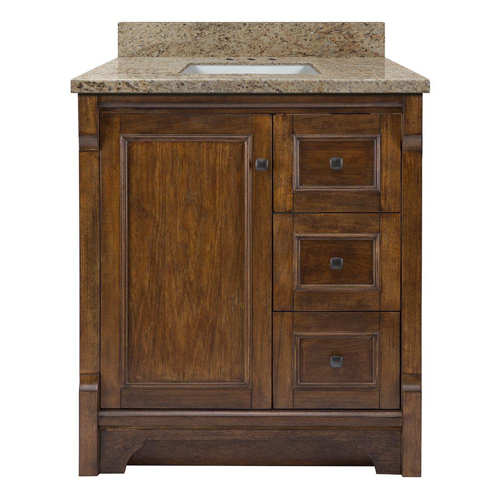 Home Decorators Collection Creedmoor 31 in. W x 22 in. D Vanity in Walnut with Granite Vanity Top in Giallo Ornamental with White Sink
