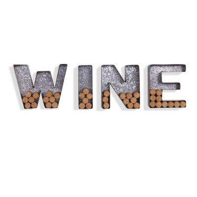 """WINE"" Galvanized Sheet Metal Letter Set for Corks"