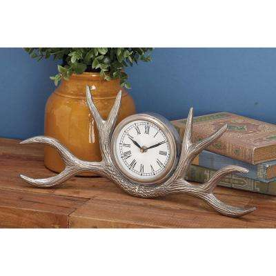 7 in. x 16 in. Traditional Aluminum Antler Table Clock