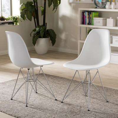 Azzo White Finished Plastic Dining Chairs (Set of 2)