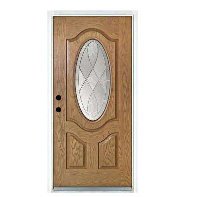 36 in. x 80 in. Light Oak Right-Hand Inswing 3/4 Oval Decorative Lite Zen Stained Fiberglass Prehung Front Door