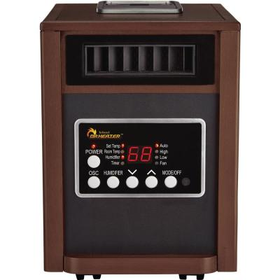 Electric Infrared Dual Heating System Space Heater with Humidifier, Oscillation Fan, and Remote Control in Walnut