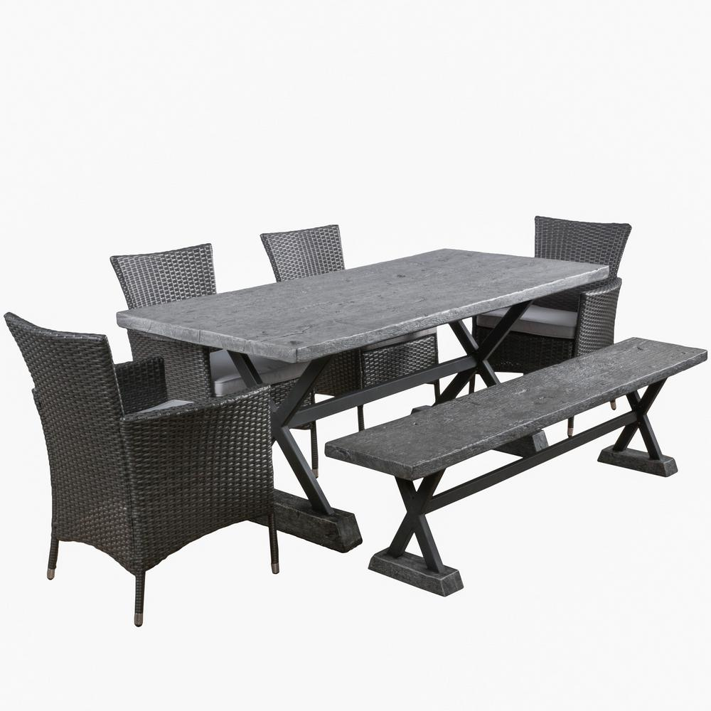Frida 6 Piece Stone Rectangular Outdoor Dining Set With Bench And Silver Cushions