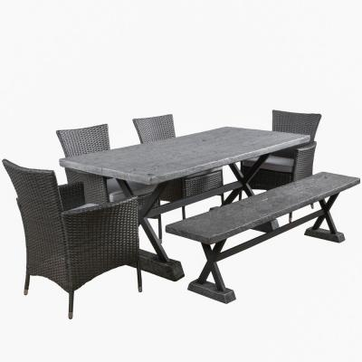 Frida 6-Piece Stone Rectangular Outdoor Dining Set with Bench and Silver Cushions