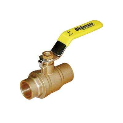 Standard Full Port Forged Brass Ball Valve with Chrome Plated Lever Handle - 1 in. Sweat