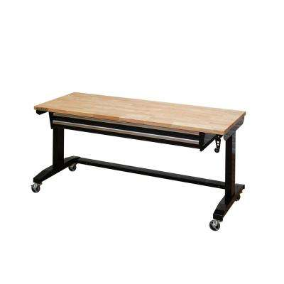 62 in. Adjustable Height Workbench Table with 2-Drawers in Black
