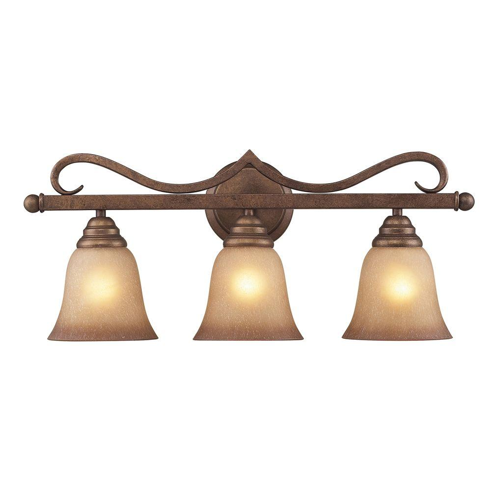 Titan Lighting Lawrenceville 3-Light Mocha Wall Vanity Light