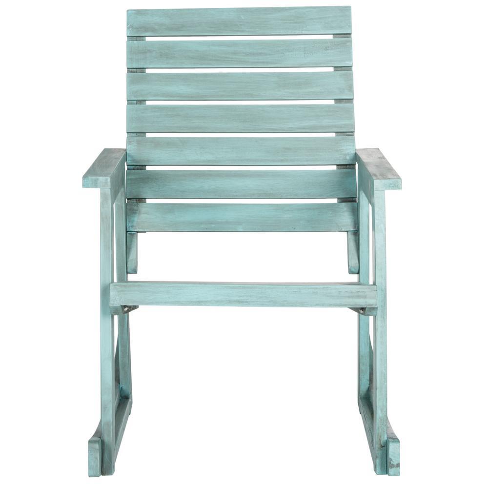 Alexei Beach House Blue Wood Outdoor Rocking Chair