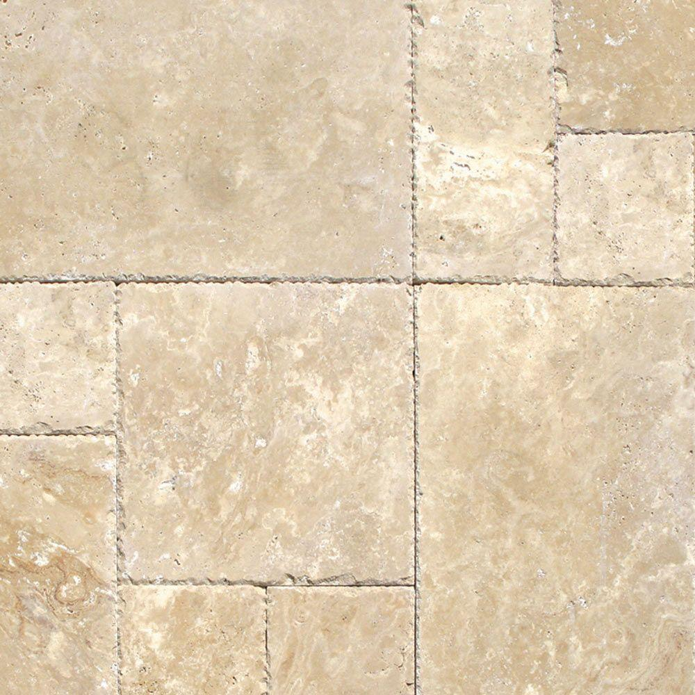 French Travertine Tile Kitchen Floor
