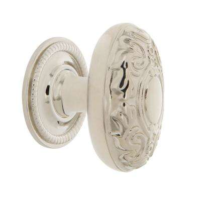 Victorian 1-3/4 in. Polished Nickel Brass Cabinet Knob with Rope Rose