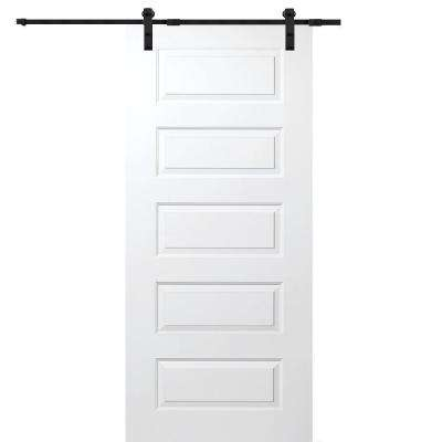 36 in. x 80 in. Primed Rockport Smooth Surface Solid Core Door with Barn Door Hardware Kit