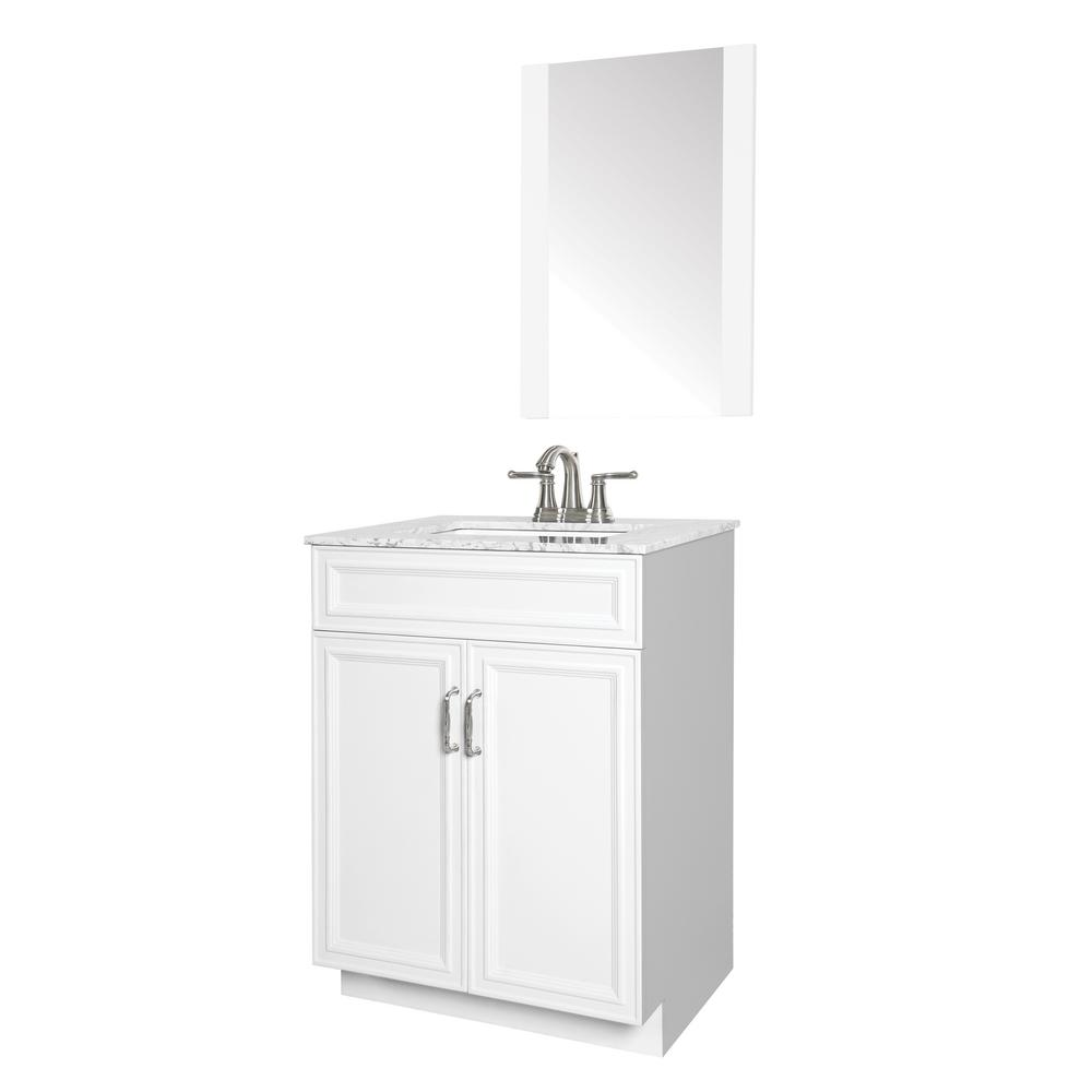 Sheffield Home Colette 24 in. W x 19 in. D Bath Vanity in White with Engineered Stone Vanity Top in Gray with White Basin and Mirror
