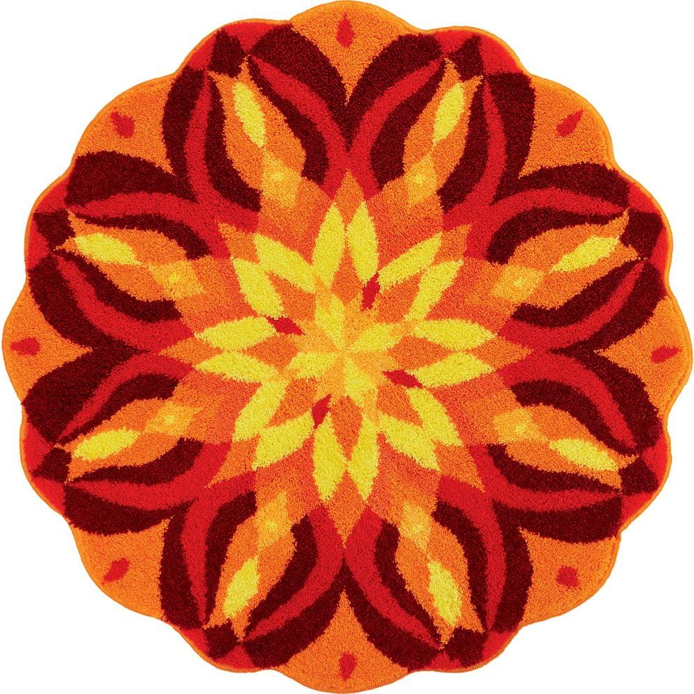 Grund Mandala Knowledge Of Self Series Red 4 Ft. X 4 Ft. Round Area Rug M3009 46210    The Home Depot