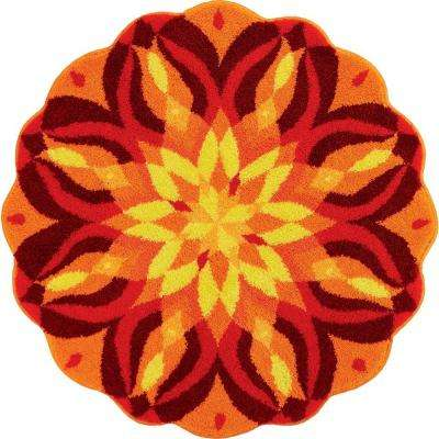 Mandala Knowledge of Self Series Red 4 ft. x 4 ft. Round Area Rug