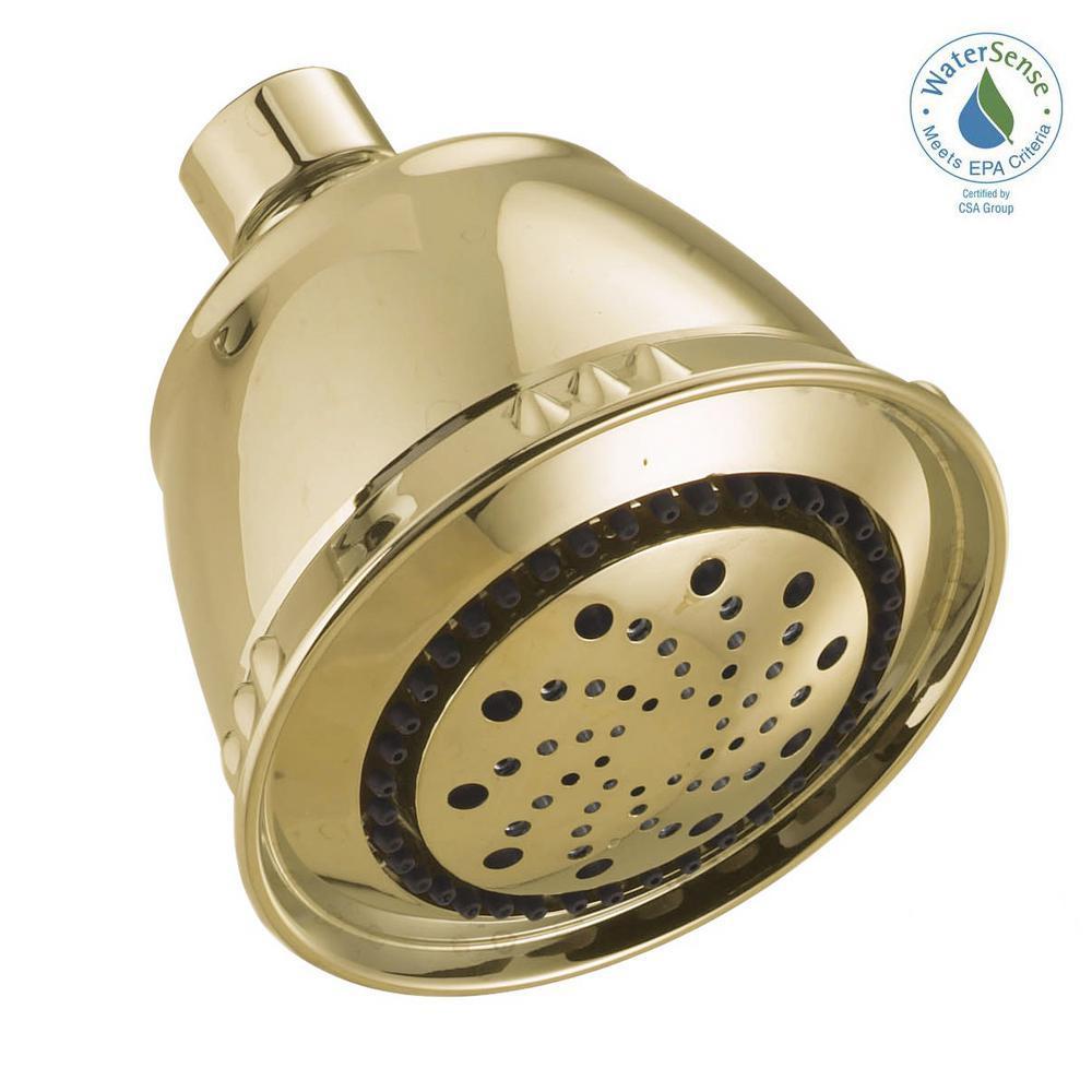 5-Spray 3.75 in. Fixed Showerhead in Polished Brass