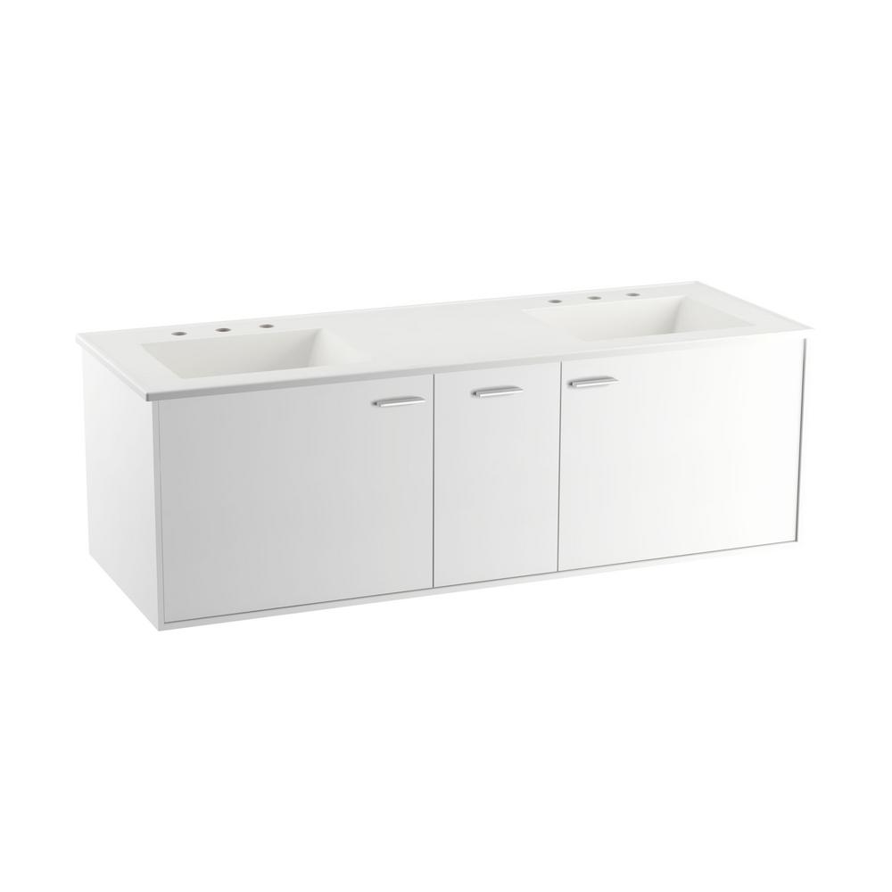 KOHLER Jute 60 in. W Wall-Hung Vanity in Linen White with Marble Vanity Top in Carrara with White Basins