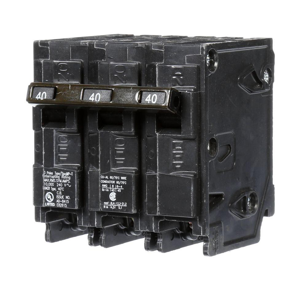 3 Pole Breakers Circuit The Home Depot 240 Phase Contactor Wiring 40 Amp Three Type Mp Breaker