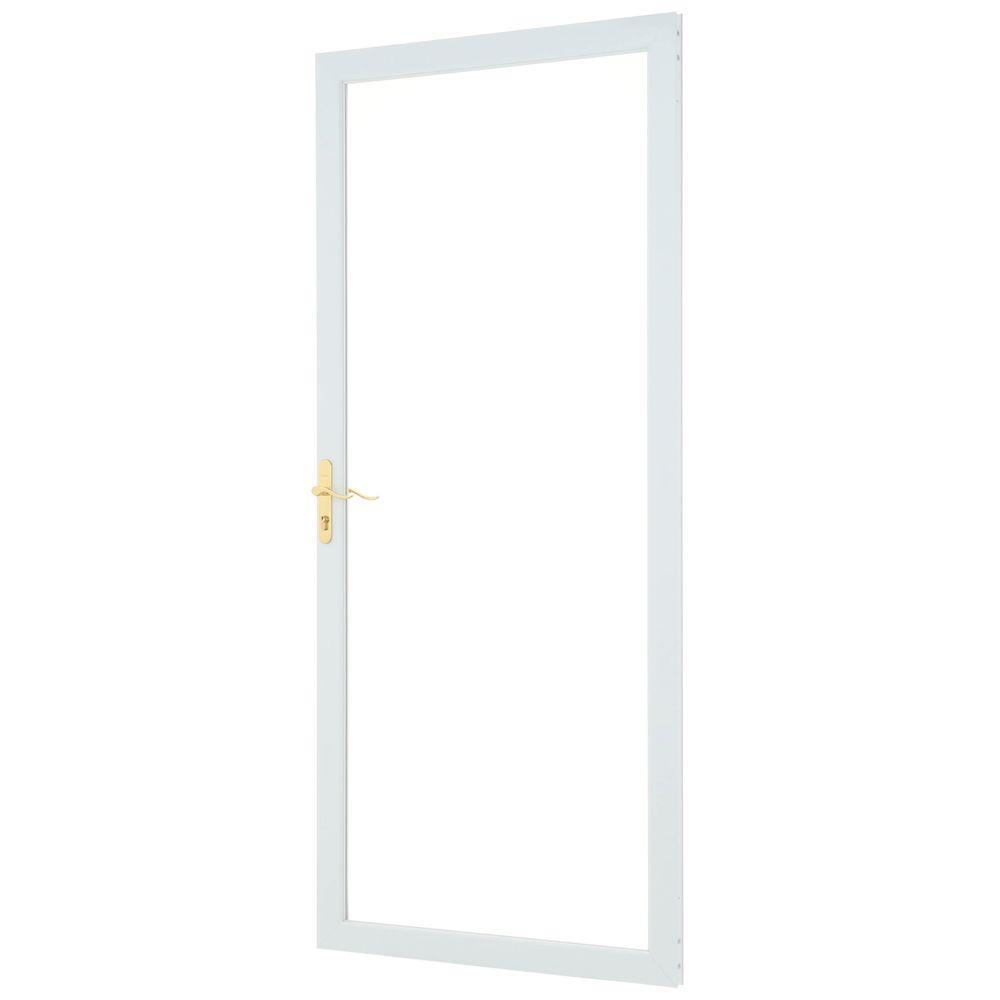 36 in. x 80 in. 2000 Series White Universal Fullview Aluminum Storm Door with Brass Hardware
