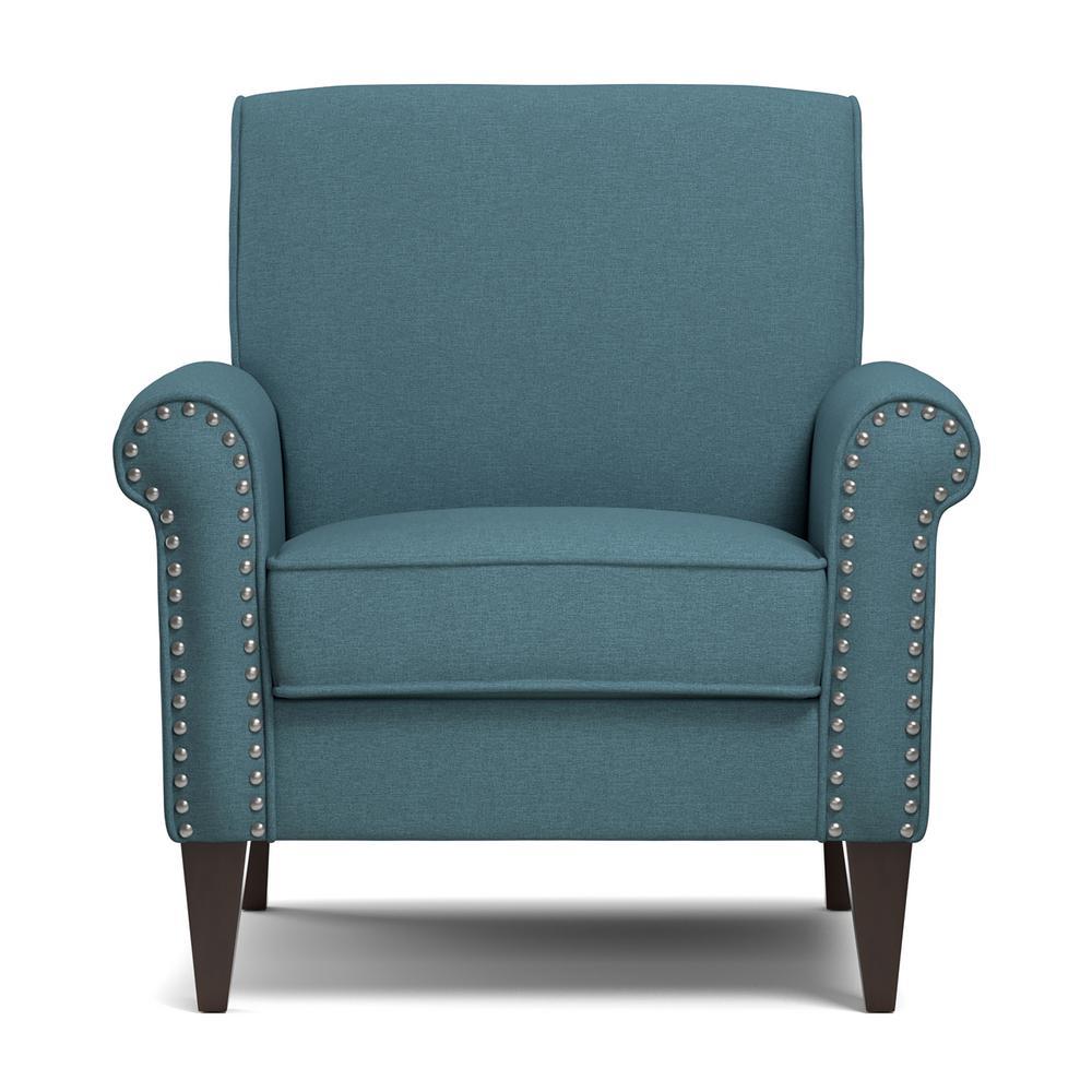 Handy Living Jean Caribbean Blue Linen Arm Chair B340C-LNN55-100