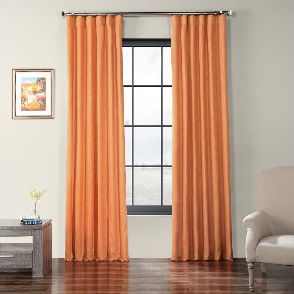 Monarch Orange Faux Shantung Silk Curtain - 50 in. W x 96 in. L