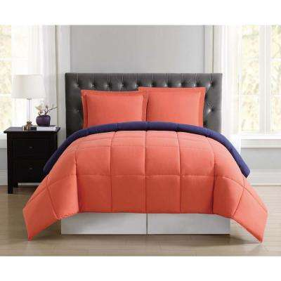 Everyday Orange and Navy Reversible Twin XL Comforter Set