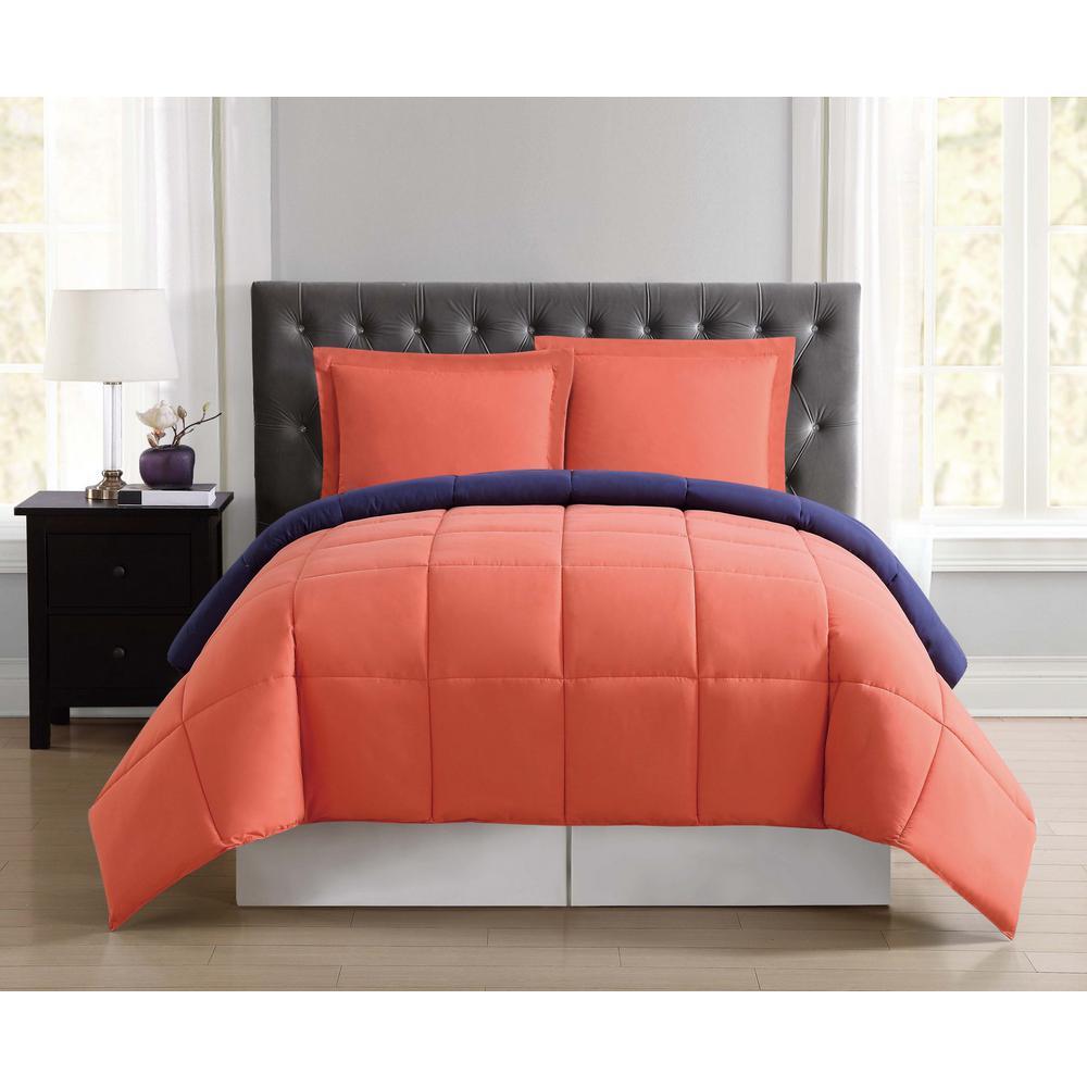 Everyday Orange and Navy Reversible Full/Queen Comforter Set by