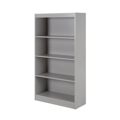 56 in. Soft Gray Faux Wood 4-shelf Standard Bookcase with Adjustable Shelves