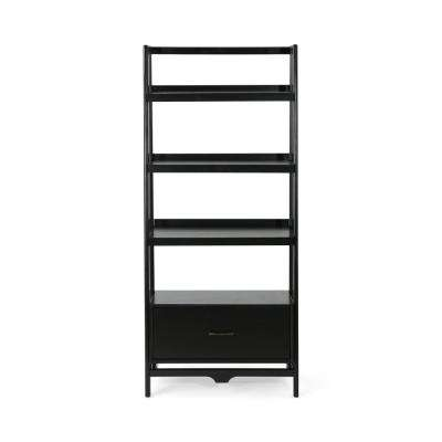 Brantly Mid-Century Modern Black Faux Wood and Pine Shelf with Drawer