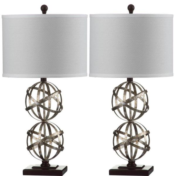 Haley Double Sphere 28 in. Antique Silver Table Lamp with Off-White Shade (Set of 2)