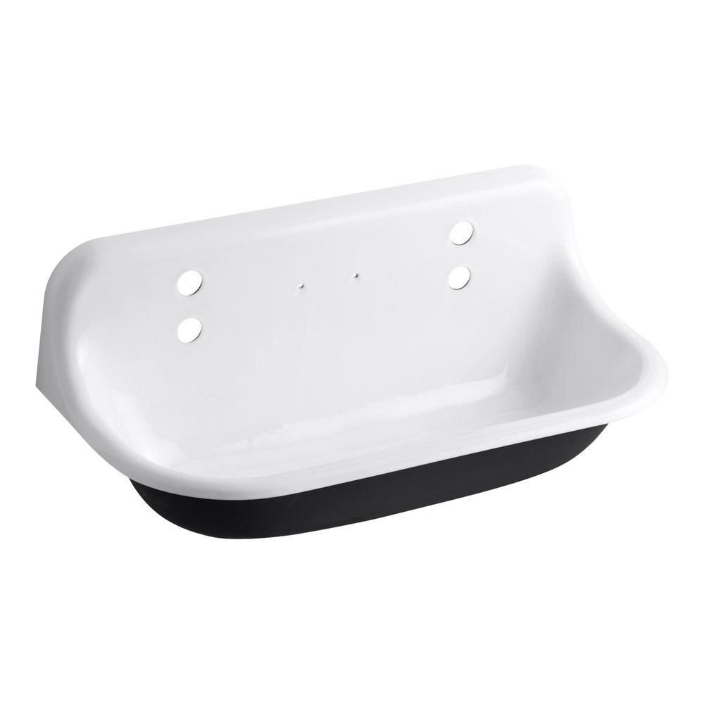 KOHLER Brockway 17.5 in. x 36 in. Cast Iron Wall-Mount Wash Sink ...