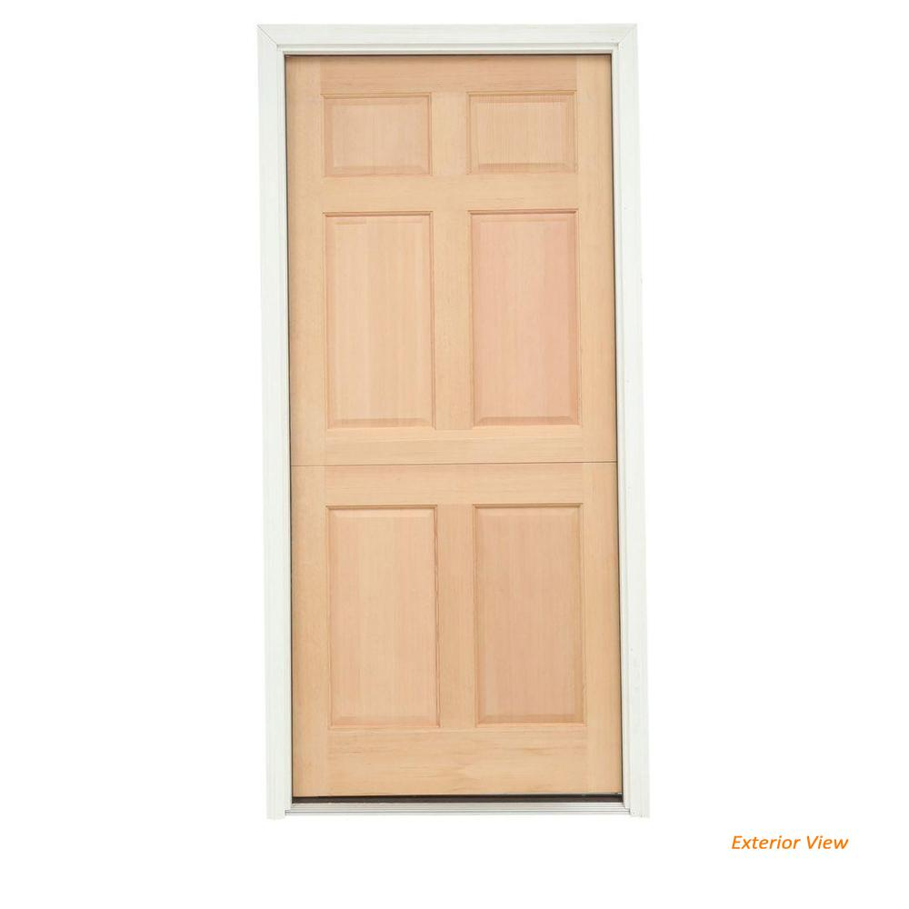 6 Panel Unfinished Dutch Right Hand Inswing Wood Prehung Front Door W Brickmould