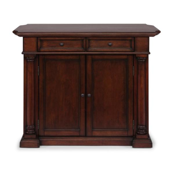 Beacon Hill Cherry Finished Solid Wood Top Kitchen Island with Two 24 in. Stools