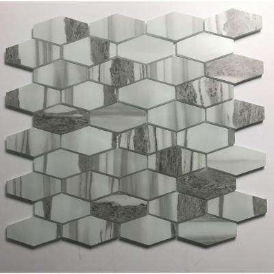 Musico Urban Corteccia Gray Hexagon Mosaic 1.5 in. x 3 in. Matte Glass Mesh Mounted Wall Tile (1 Sq. ft.)