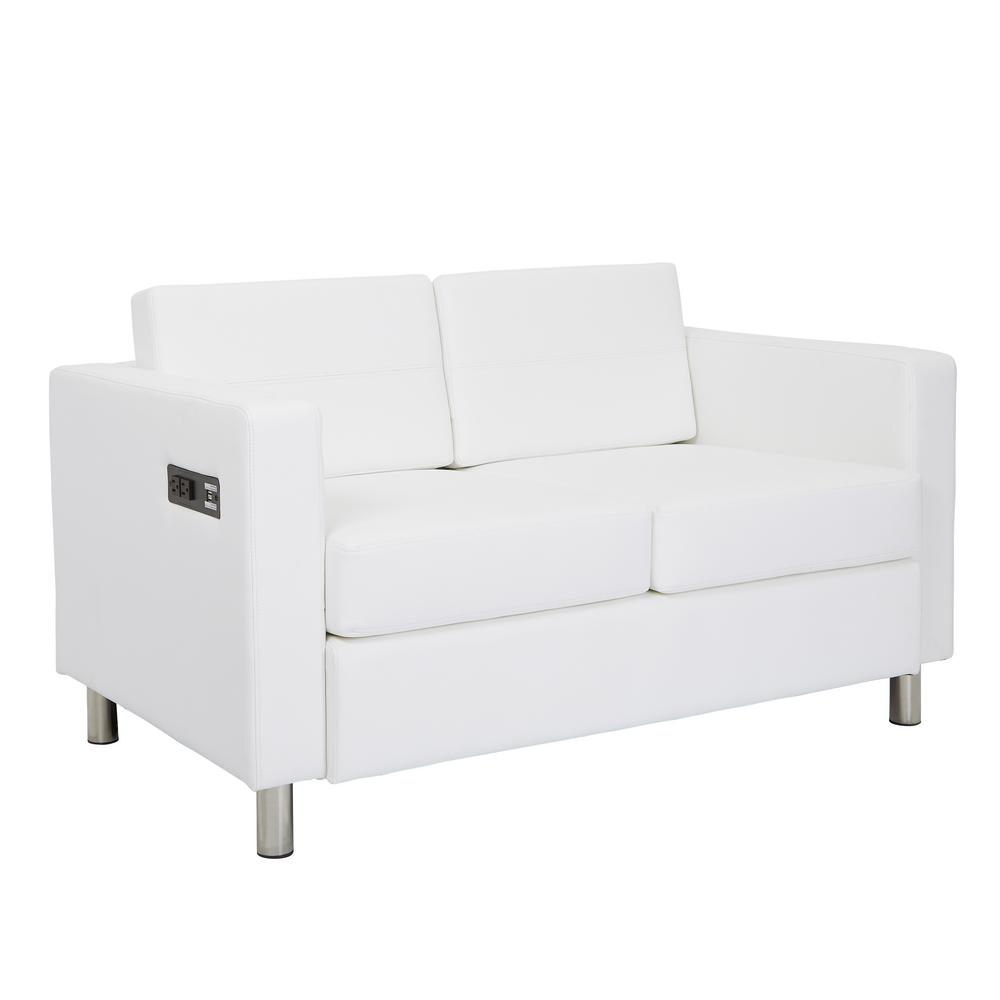 OSP Home Furnishings Atlantic 51.5 in. White Faux Leather 2-Seater Loveseat with Charging Station OSP Home Furnishings Atlantic 51.5 in. White Faux Leather 2-Seater Loveseat with Charging Station.