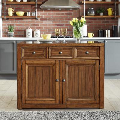 Sedona Toffee Brown Quartz Top Kitchen Island with Two 24 in. Stools