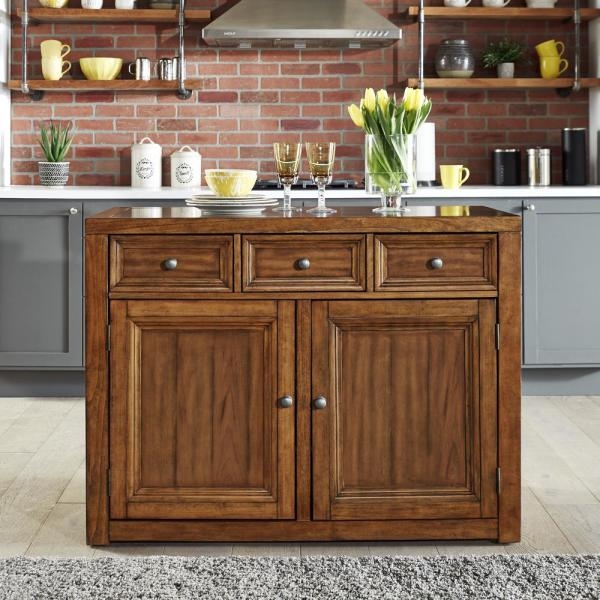 24 Kitchen Island: HOMESTYLES Sedona Toffee Brown Quartz Top Kitchen Island