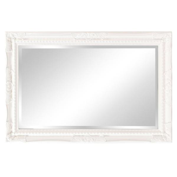 Medium Rectangle Glossy White Beveled, How To Hang A Glass Mirror Without Frame