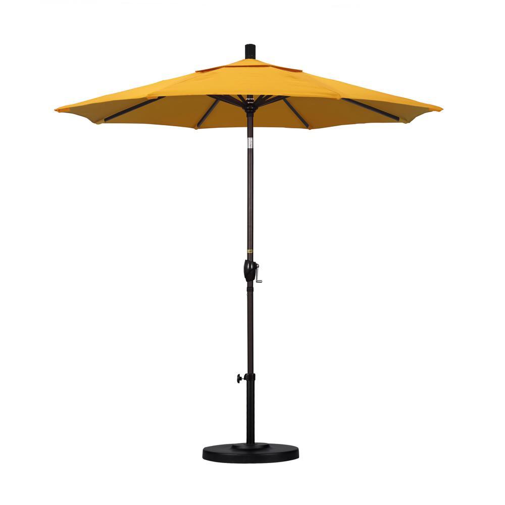California Umbrella 7 1/2 Ft. Fiberglass Push Tilt Patio Umbrella In Yellow