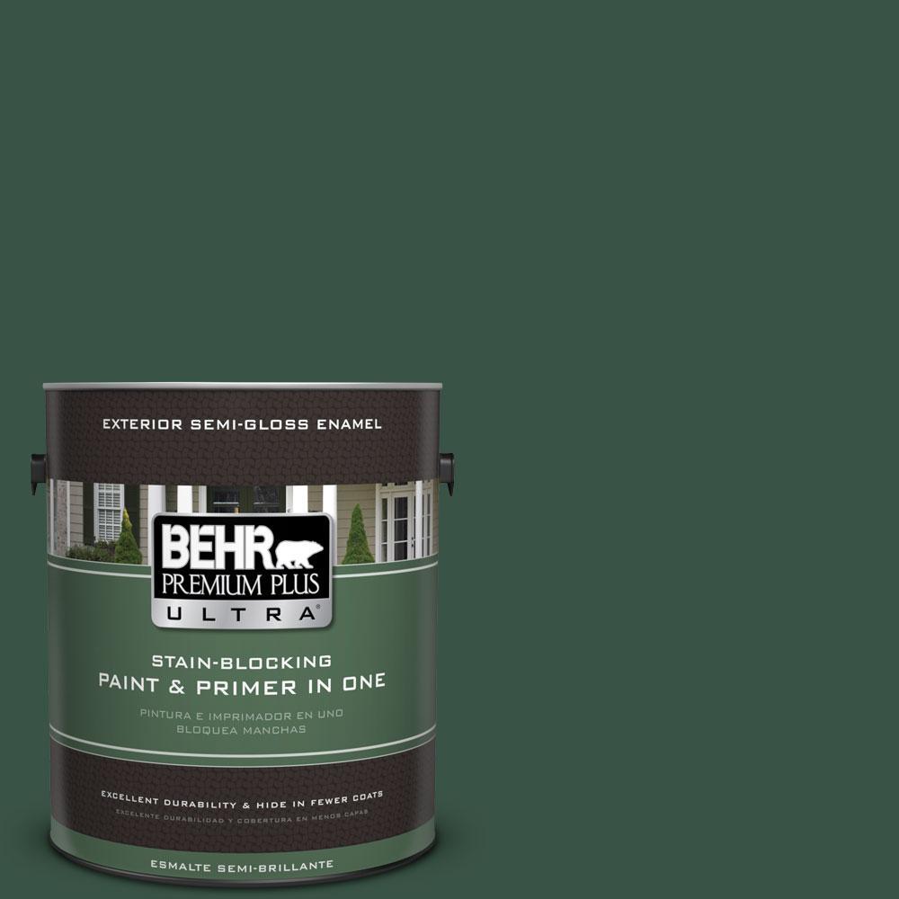 BEHR Premium Plus Ultra 1-gal. #470F-7 Deep Jungle Semi-Gloss Enamel Exterior Paint