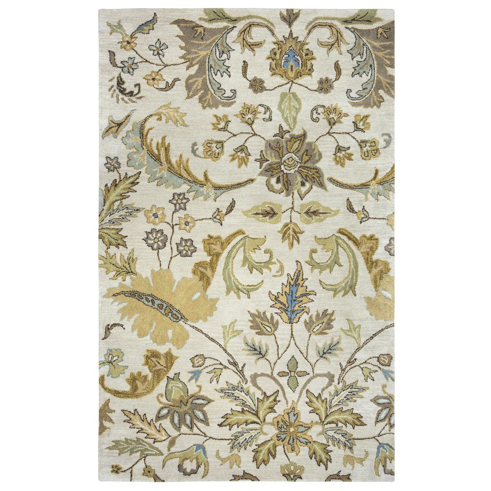 Volare Ivory Floral Hand Tufted Wool 3 ft. x 5 ft.