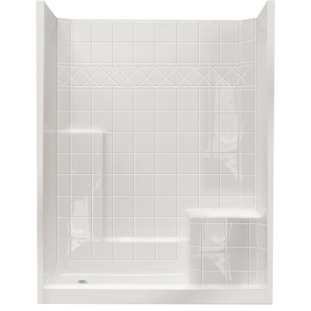 Standard 32 in. x 60 in. x 77 in. Walk-In Shower Kit in White with Low Threshold
